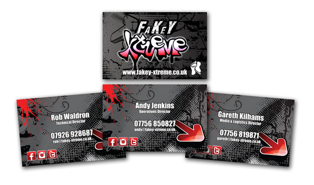 Fakey Business cards spread